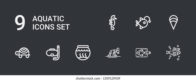 Editable 9 aquatic icons for web and mobile. Set of aquatic included icons line Fish, Whale, Fishbowl, Diving, Turtle, Clam, Anglerfish, Seahorse on dark background