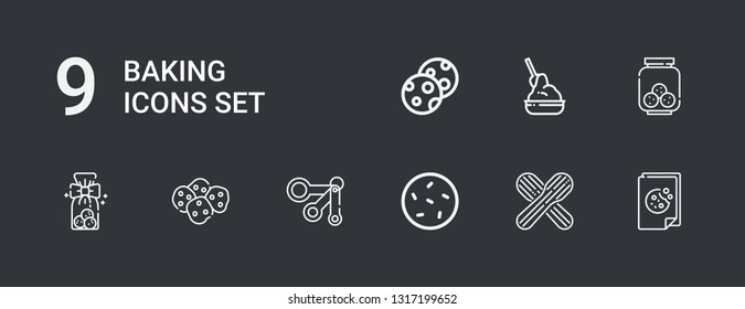 Editable 9 baking icons for web and mobile. Set of baking included icons line Cookie, Wooden spoon, Measuring spoons, Cookies, Yeast on dark background