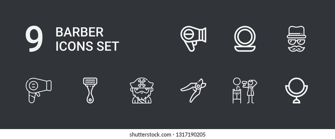 Editable 9 barber icons for web and mobile. Set of barber included icons line Mirror, Hair dryer, Shears, Beard, Razor, Hairdryer, Disguise on dark background