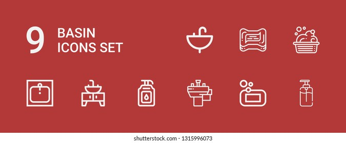 Editable 9 basin icons for web and mobile. Set of basin included icons line Soap, Basin, Sink, Washbowl on red background