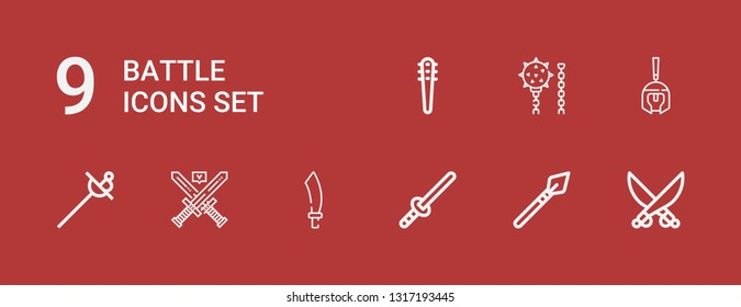 Editable 9 battle icons for web and mobile. Set of battle included icons line Saber, Spear, Sword, Sabre, Swords, Roman helmet, Weapon, Weapons on red background