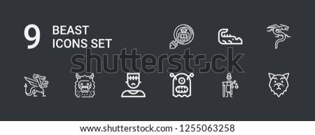 Editable 9 Beast Icons Web Mobile เวกเตอร์สต็อก (ปลอดค่าลิขสิทธิ์