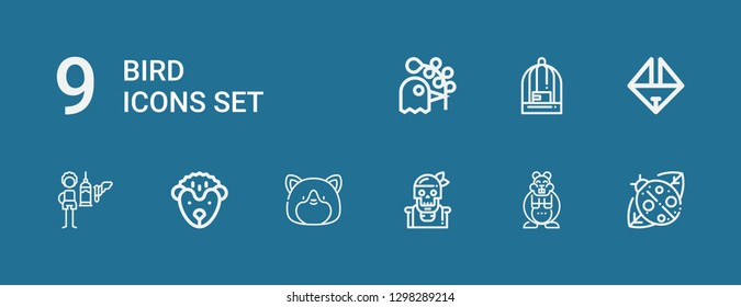Editable 9 bird icons for web and mobile. Set of bird included icons line Ladybird, Hamster, Pirate, Hedgehog, Feeder, Origami, Bird cage, Pigeon on blue background