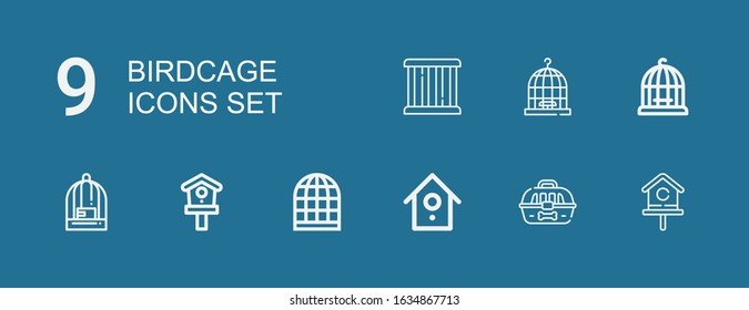 Editable 9 birdcage icons for web and mobile. Set of birdcage included icons line Birdhouse, Cage, Bird cage on blue background
