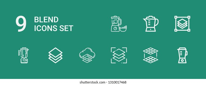 Editable 9 blend icons for web and mobile. Set of blend included icons line Blender, Layers, Layer on green background