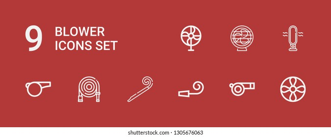 Editable 9 blower icons for web and mobile. Set of blower included icons line Propeller, Whistle, Party whistle, Party blower, Water hose, Fan on red background