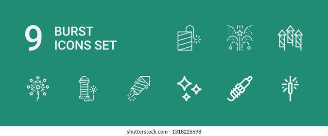 Editable 9 burst icons for web and mobile. Set of burst included icons line Sparkler, Spark, Shines, Petard, Fireworks on green background