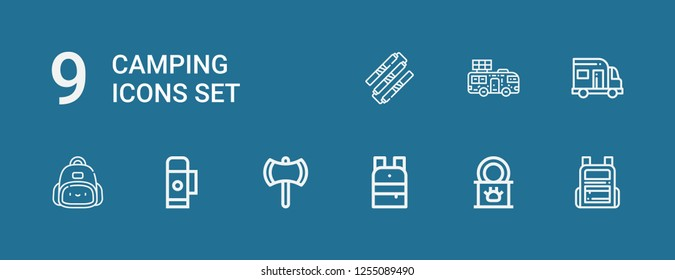 Editable 9 camping icons for web and mobile. Set of camping included icons line Backpack, Tinned food, Ax, Thermo, Caravan, Nunchaku on blue background