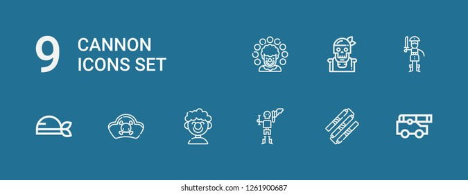 Editable 9 cannon icons for web and mobile. Set of cannon included icons line Cannon, Nunchaku, Pirate, Clown, Pirates on blue background