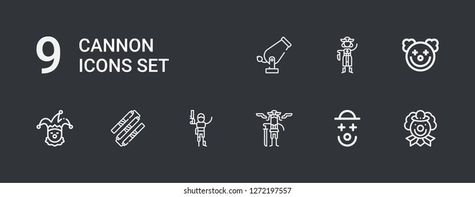 Editable 9 cannon icons for web and mobile. Set of cannon included icons line Clown, Pirates, Pirate, Nunchaku, Cannon on dark background