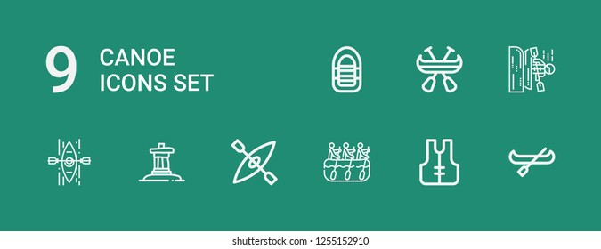 Editable 9 canoe icons for web and mobile. Set of canoe included icons line Canoe, Lifejacket, Rafting, Kayak, Inukshuk, Inflatable boat on green background
