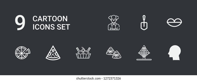 Editable 9 cartoon icons for web and mobile. Set of cartoon included icons line Think, Net, Zongzi, Ice cream, Pizza, Lips, Shovel, Clown on dark background