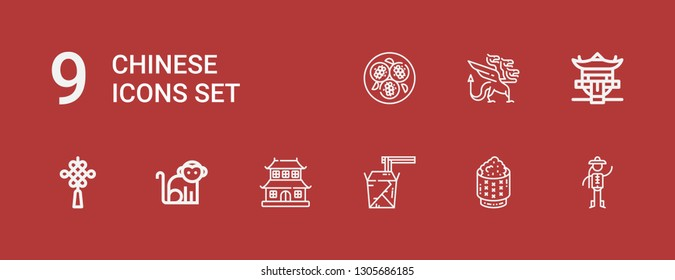 Editable 9 chinese icons for web and mobile. Set of chinese included icons line Chinese, Rice, Noodles, Dojo, Monkey, knot, Pagoda, Dragon, Tofu on red background