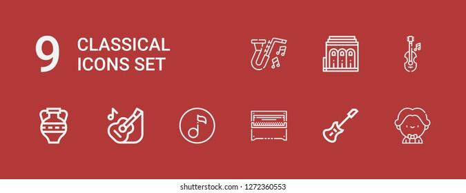 Editable 9 classical icons for web and mobile. Set of classical included icons line Musician, Electric guitar, Piano, Quaver, Guitar, Amphora, Violin, Philharmonic on red background