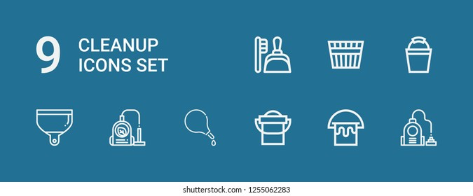 Editable 9 cleanup icons for web and mobile. Set of cleanup included icons line Vacuum, Bucket, Enema, Dustpan on blue background