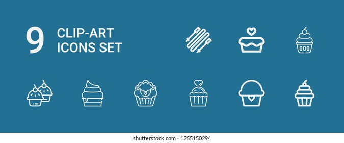 Editable 9 clip-art icons for web and mobile. Set of clip-art included icons line Cupcake, Skii on blue background