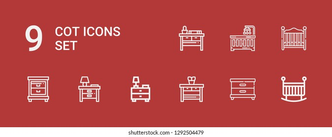 Editable 9 cot icons for web and mobile. Set of cot included icons line Crib, Nightstand, Baby bed, Baby crib on red background