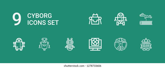 Editable 9 cyborg icons for web and mobile. Set of cyborg included icons line Robot, Transhumanism, Artificial intelligence, Science fiction, Space robot on green background