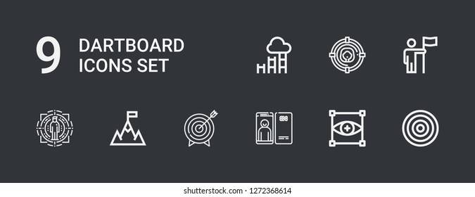 Editable 9 dartboard icons for web and mobile. Set of dartboard included icons line Dartboard, Focus, Target, Goal on dark background