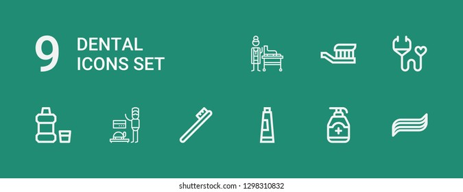 Editable 9 dental icons for web and mobile. Set of dental included icons line Toothpaste, Gel, Toothbrush, Veterinarian, Mouthwash, Medical insurance on green background