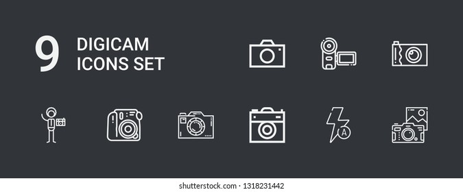 Editable 9 digicam icons for web and mobile. Set of digicam included icons line Camera, Auto flash, Photography on dark background