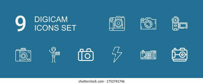 Editable 9 digicam icons for web and mobile. Set of digicam included icons line Camera, Flash, Photography on blue background