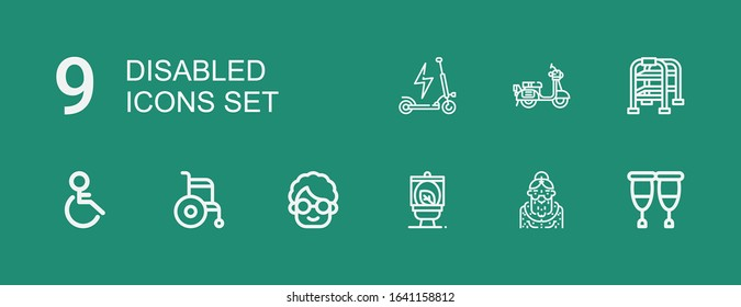 Editable 9 disabled icons for web and mobile. Set of disabled included icons line Crutches, Grandmother, Wc, Wheelchair, Handicap, Walking stick, Scooter on green background