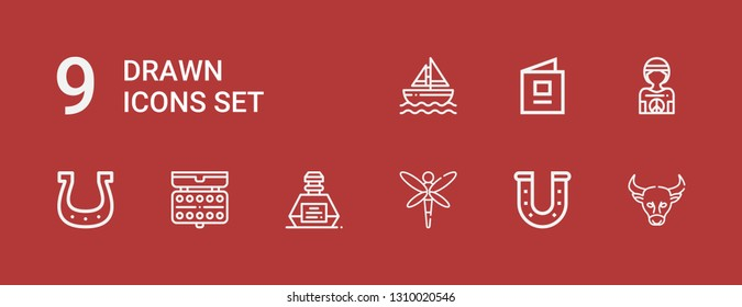 Editable 9 drawn icons for web and mobile. Set of drawn included icons line Buffalo, Horseshoe, Dragonfly, Inkwell, Watercolor, Hippie, Baby book, Sailboat on red background