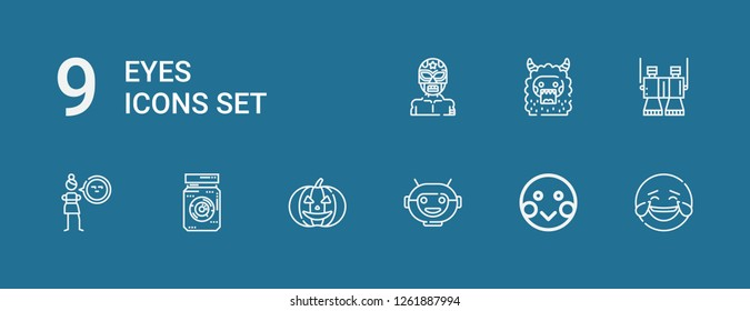 Editable 9 eyes icons for web and mobile. Set of eyes included icons line Laughing, Shy, Robot mask, Pumpkin, Eye jar, Cynicism, Binoculars, Monster, Wrestler on blue background