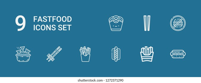 Editable 9 fastfood icons for web and mobile. Set of fastfood included icons line Hotdog, French fries, Chopsticks, Nachos, Junk food, Onion rings on blue background