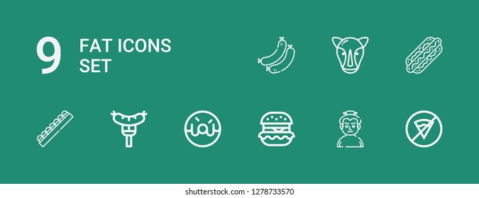 Editable 9 fat icons for web and mobile. Set of fat included icons line No fast food, Sumo, Hamburguer, Donut, Sausage, Chocolate, Hot dog, Rhino, Sausages on green background