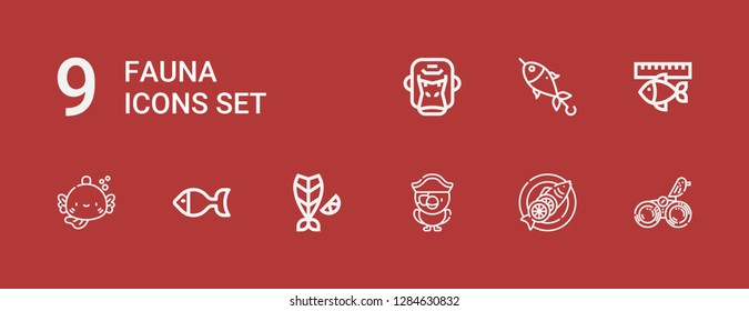 Editable 9 fauna icons for web and mobile. Set of fauna included icons line Bird, Fish, Parrot, Gorilla on red background
