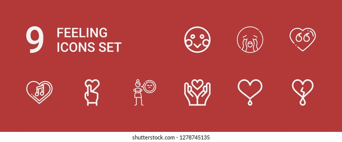 Editable 9 feeling icons for web and mobile. Set of feeling included icons line Heart, Cynicism, Crying, Shy on red background