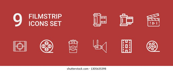 Editable 9 filmstrip icons for web and mobile. Set of filmstrip included icons line Film reel, Strip, Projector, Popcorn, Movie, Reel, Photo film on red background