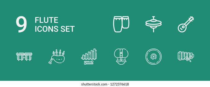 Editable 9 flute icons for web and mobile. Set of flute included icons line Xylophone, Cymbal, Fakir, Bagpipes, Bongos, Mandolin, Cymbals, Conga on green background