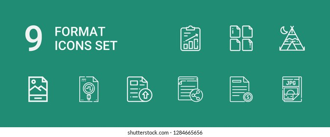 Editable 9 format icons for web and mobile. Set of format included icons line Jpg, File, Tipi on green background