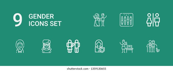 Editable 9 gender icons for web and mobile. Set of gender included icons line Couple, Woman suffrage, Woman, Equality, Girl, Restrooms, Equalizer on green background