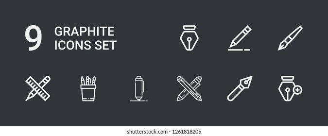 Editable 9 graphite icons for web and mobile. Set of graphite included icons line Pen, Pencil on dark background