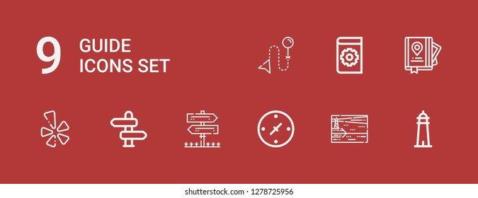 Editable 9 guide icons for web and mobile. Set of guide included icons line Lighthouse, Cardinal points, Sign Post, Direction, Yelp, Guide, Manual on red background