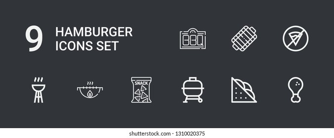 Editable 9 hamburger icons for web and mobile. Set of hamburger included icons line Fried chicken, Sandwich, Bbq, Snack, Grill, No fast food on dark background