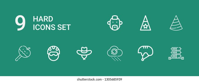 Editable 9 hard icons for web and mobile. Set of hard included icons line Server, Helmet, Rain, Hat, Caramelized apple, Punk on green background