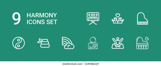 Editable 9 harmony icons for web and mobile. Set of harmony included icons line Piano, Yoga, Friend, Rainbow, Zen, Yin yang, Friends on green background