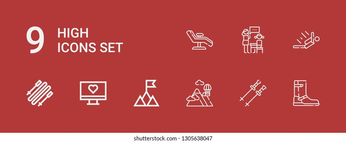 Editable 9 high icons for web and mobile. Set of high included icons line Boot, Poles, Mountains, Mountain, Monitor, Skii, Skydiving, Lesson, Chair on red background
