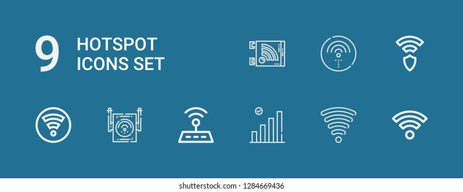 Editable 9 hotspot icons for web and mobile. Set of hotspot included icons line Wifi, Wifi signal, Wireless on blue background