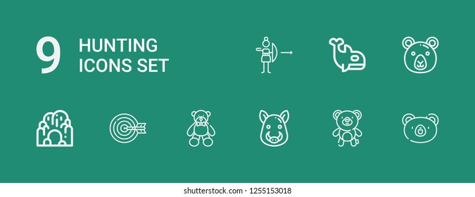 Editable 9 hunting icons for web and mobile. Set of hunting included icons line Bear, Boar, Archery, Cave, Orca on green background