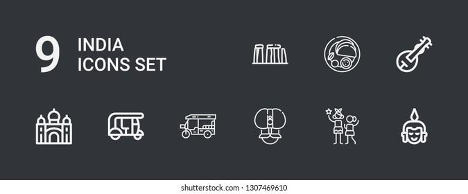 Editable 9 india icons for web and mobile. Set of india included icons line Buddha, Idol, Fakir, Tuk tuk, Taj mahal, Veena, Indian, Stonehenge on dark background