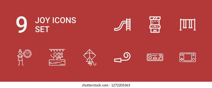 Editable 9 joy icons for web and mobile. Set of joy included icons line Gamepad, Joystick, Party whistle, Kite, Pool, Cynicism, Swing, Arcade game, Toboggan on red background