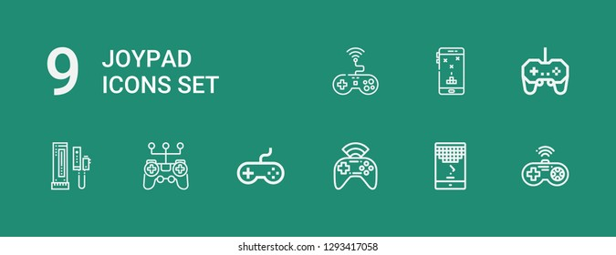 Editable 9 joypad icons for web and mobile. Set of joypad included icons line Gamepad, Game, Joystick, Console on green background