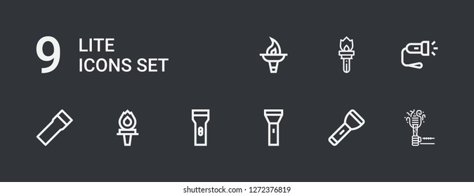 Editable 9 lite icons for web and mobile. Set of lite included icons line Torch, Flashlight on dark background
