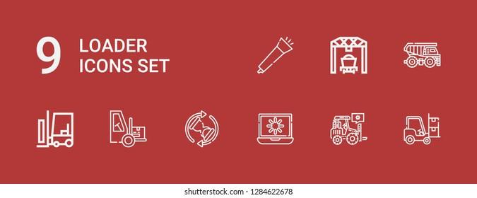 Editable 9 loader icons for web and mobile. Set of loader included icons line Forklift, Loader, Loading, Waiting, Dumper, Blower on red background
